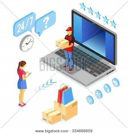 Isometric Online Shopping, Delivery, Logistics Concept. Laptop With Delivery Man, Box. 24h Internet