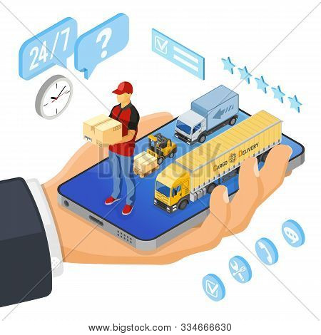 Isometric Online Shopping, Delivery, Logistics Concept. Hand With Smartphone, Truck, Forklift, Deliv