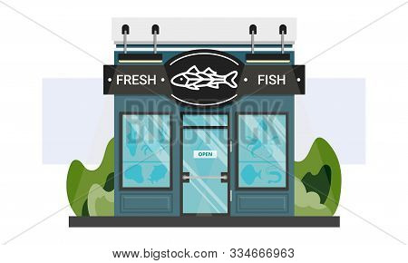 Small Local Fish Shop Front Entrance With Line Sign. Fresh Seafood Storefront Isolated On White. Gou