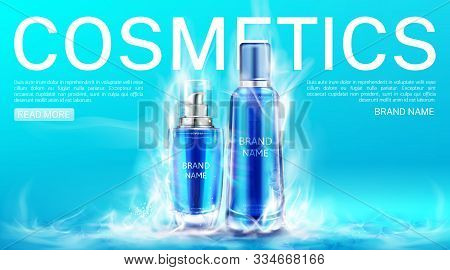 Cosmetics Bottles In Dry Ice Smoke Landing Page Mockup Background. Cooling Beauty Cosmetic Product T