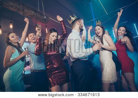 Clink Cheers Toast For Excited Prince And Princess. Photo Of Excited Cheerful Glad Carefree Buddies