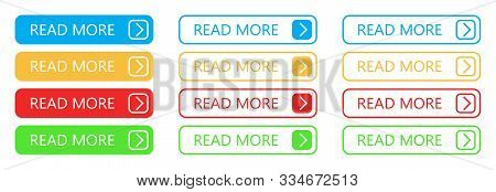 Set Of Read More Buttons. Vector Colorful Buttons Isolated. Web Buttons.