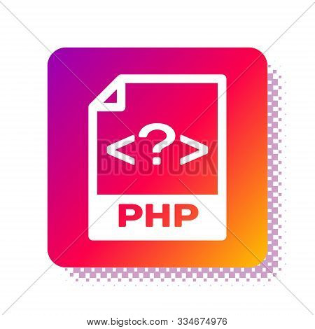 White Php File Document. Download Php Button Icon Isolated On White Background. Php File Symbol. Squ
