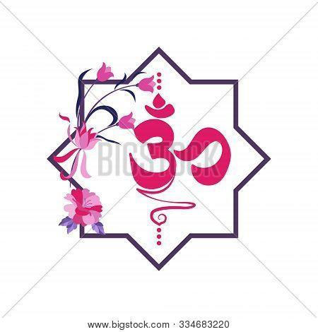 Vector Flat Background. Buddhist Symbol Ohm On White Background. Eight Pointed Star. Octogram.
