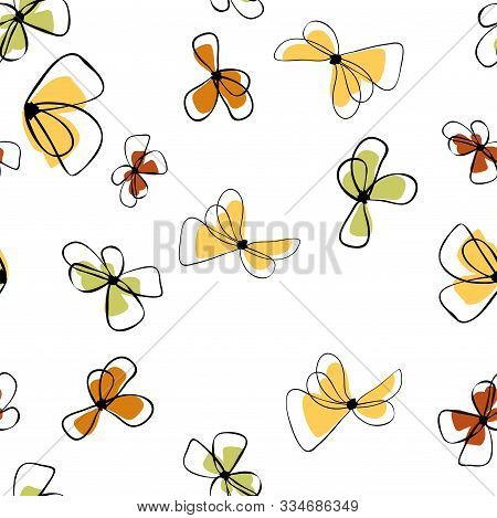 Flowers In Vintage Style On Soft White Background. Element Decorative Floral. Seamless Floral Backgr
