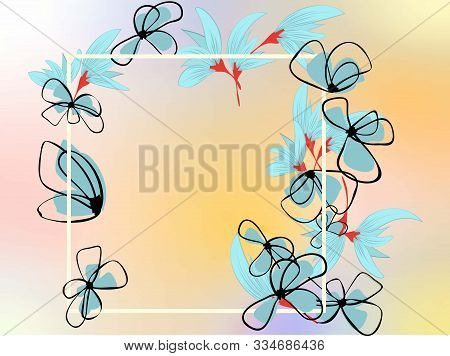 Abstract Flower Design Template On White Backdrop. Abstract Flower Pattern. Floral Illustration. Flo