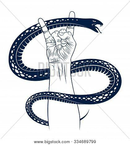 Rock Hand Sign With Aggressive Snake, Hot Music Rock And Roll Gesture And Serpent, Hard Rock Festiva