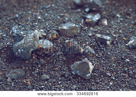 Small Naturally Tin Ore Sifting From Streams, Process Of Panning For Minerals