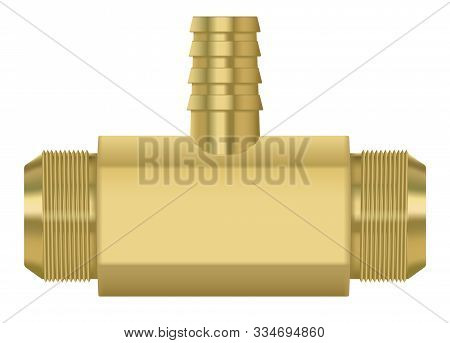 Zinc Metal Pipe Connetor. Vector 3d Illustration Isolated On White Background