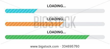Set Of Vector Loading Icons. Flat Progress Loading Bar Isolated. Download Sign. Vector Loading Symbo