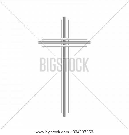 Metallic Christian Cross Icon Isolated. Glossy Steel Christian Cross. Vector Cross Icon. Chrome Chri