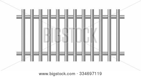 Metal Prison Bars Isolated. Vector Silver Prison Bars. Chrome Prison Bars