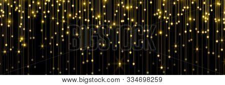Golden Rain, Gold Glitter Particles Falling. Glowing Glittering Lights On Golden Threads, Shiny Spar