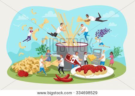 Pasta, Kitchen, Family Gatherings, Food Concept. Team Men, Women, Children Together Prepare Festive