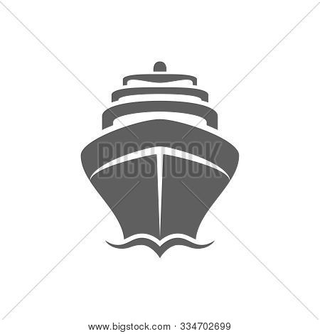 Sea Ship Graphic Icon. Cruise Liner Sign Isolated On White Background.  Sea Cruise Symbol. Vector Il