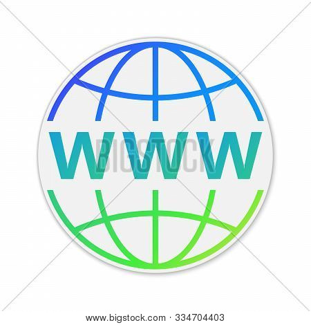 Vector Internet Http Address Icon. Paper Sticker With Shadow. Colorful Url Icon Isolated.