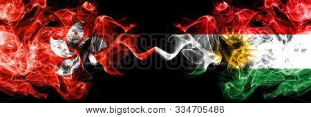 Hong Kong, China Vs Kurdistan, Kurdish Smoky Mystic States Flags Placed Side By Side. Concept And Id