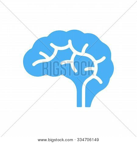 A Conceptual Illustration Of A Glowing Blue Human Brain. Could Be A Concept For A Brainstorm Or Inte