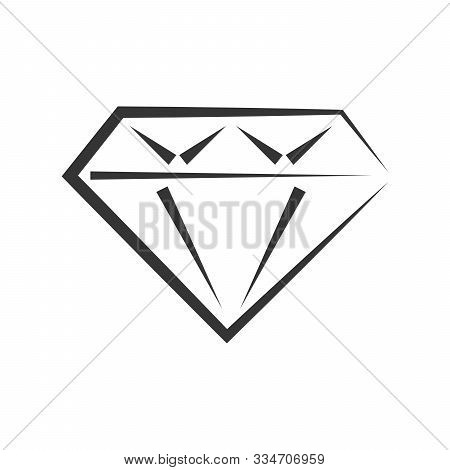 Vector Diamond Icon. Black Diamond Icon Isolated. Diamond In Flat Style. Brilliant, Crystal