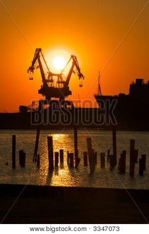 Industrial Shipyard Sunset