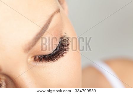 Treatment of Eyelash Extension. Lashes. Woman Eyes with Long Eyelashes.