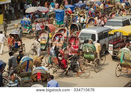 Dhaka, Bangladesh - February 22, 2014: Busy Traffic At The Central Part Of The City In Dhaka, Bangla