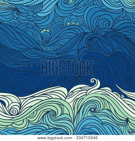 Seamless Waves Pattern. Abstract Water Background With Curly Hand-drawn Waves. Blue Tide Vector Back