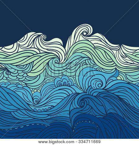 Seamless Waves Border. Water Pattern. Abstract Water Background With Curly Hand-drawn Waves. Blue Ti