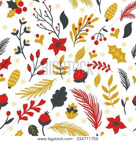 Seamless Pattern With Flowers, Branches, Leaves, Cones And Berries. Cute Hand-drawn Vector Illustrat