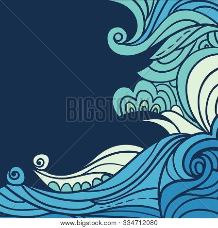 Water And Wave Border. Abstract Water Background With Hand-drawn Curls. Blue Tide Vector Background.