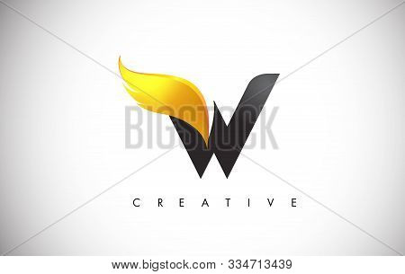 Gold W Letter Wings Logo Design Icon. Flying Wing Letter Logo With Creative Golden Wing Concept.