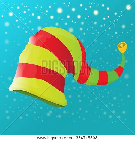 Vector Funky Red And Green Stripped Cartoon Christmas Elf Hat On Azure Sky Background With Stars. Ve