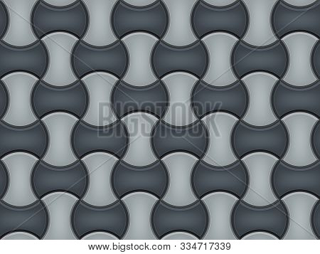 Seamless Pattern Of Tiled Cobblestone Pavers. Geometric Mosaic Street Tiles. Black And White Color.
