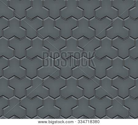 Seamless Pattern Of Tiled Cobblestone Pavers. Geometric Mosaic Street Tiles. Gray Asphalt Color. Pav