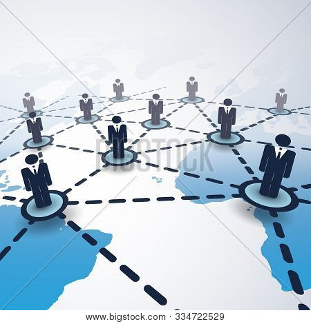 3d Global Business Network Connections Concept With Connected People And World Map