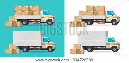 Cargo Truck Loading Parcel Package Boxes Or Delivery Van Vehicle Vector Illustration, Flat Cartoon I