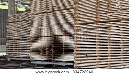 Plant For The Production Of Wood Boards. Pilorama. The Concept Of Production, Manufacturing And Wood