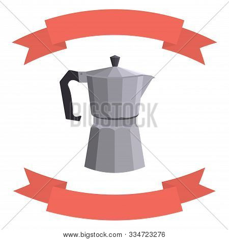 Italian Geyser Coffee Maker With A Decorative Red Ribbon. Place For Text. Vector Flat Illustration