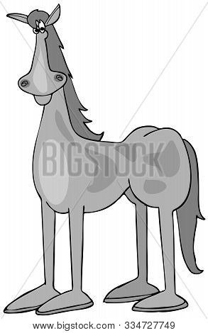 Illustration Of A Gray Spotted Horse Standing At Attention.