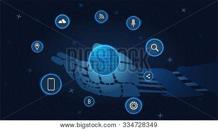 Cyberspace Technology Background. Cyber Data Network Concept.  Futuristic Robotic Hand. Cyberspace D