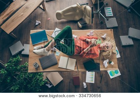 High Angle View Photo Of Corporate Messy Atmosphere Careless Blond Business Lady Lying Table Dont Mi
