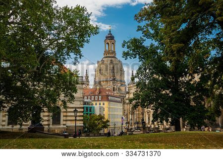 Dresden, Germany: View Of The Dresden Frauenkirche In Dresden. Evangelical-lutheran Church Of Saxony