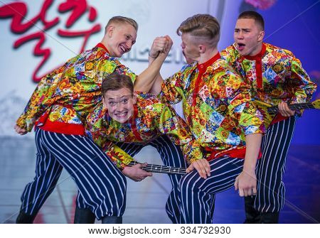 Andong , South Korea - Oct 01 : Russain Dancers From Rovesniki Choreographic Ensemble Perform At The