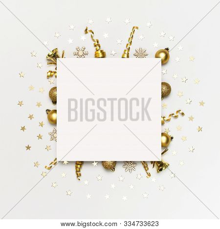 New Year Christmas Composition. Blank Paper And Holiday Decorations Christmas Balls Fir Branches Con
