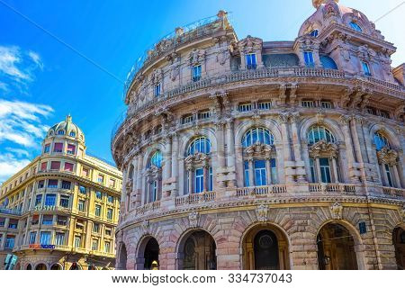 Genoa, Liguria, Italy - September 11, 2019: The Facades Of Old Buildings At Piazza Raffaele Square A