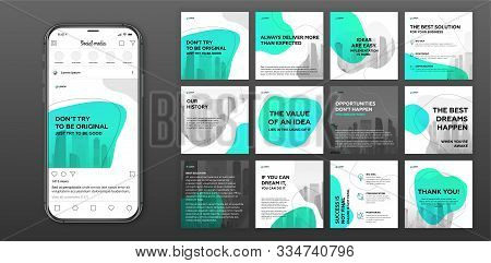 Social Media Post Templates Set For Business With Cityscape Vector Illustration On Background. Squar