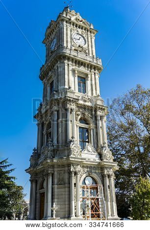 Detail From Clocktower From Dolmabahce Palace In Istanbul, Turkey