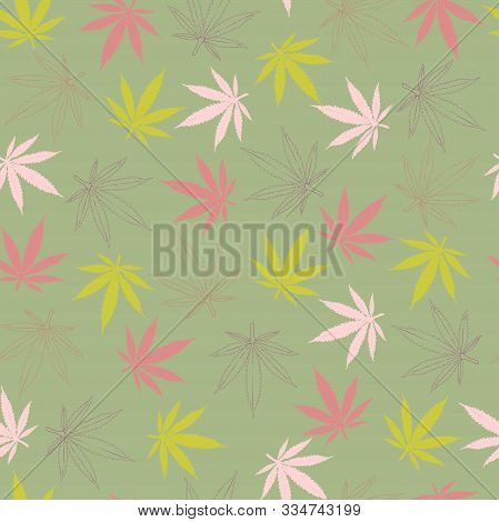 Seamless Pattern. Painted Hemp Leaves Of Pink Burgundy And Light Green Flowers And The Contours Of H