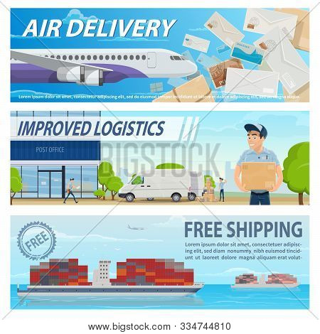 Mail Delivery, Logistics And Freight Transportation Service. Vector Air Mail Delivery, Train And Shi