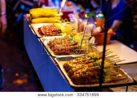 Bangkok, Thailand - 1.11.2019: Street Market With Street Food, Pubs And Shops In Bangkok City. Night